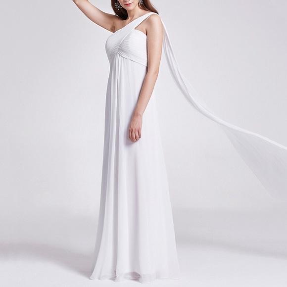 Dresses   Chiffon Greek Goddess Single Shoulder Wedding Gown   Poshmark